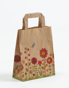 Papiertragetaschen mit Flachhenkel Blumenwiese-Natur 18 x 8 x 22 cm, 050 Stück