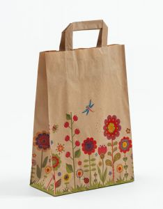 Papiertragetaschen mit Flachhenkel Blumenwiese-Natur 22 x 10 x 31 cm, 250 Stück