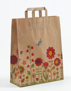Papiertragetaschen mit Flachhenkel Blumenwiese-Natur 32 x 12 x 40 cm, 200 Stück