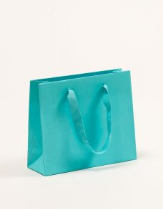 Papiertragetaschen Royal mit Baumwollbändern türkis 24 x 8 x 20 + 5 cm, 050 Stück