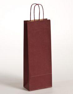 Flaschentaschen Papiertragetaschen mit gedrehter Papierkordel bordeaux 15 x 8 x 39,5 cm, 100 Stück