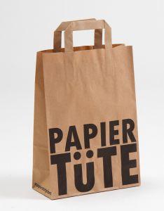 Papiertragetaschen mit Flachhenkel PAPIERTÜTE 22 x 10 x 31 cm, 200 Stück