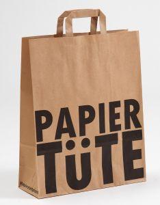 Papiertragetaschen mit Flachhenkel PAPIERTÜTE 32 x 12 x 40 cm, 250 Stück