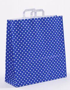 Papiertragetaschen mit Flachhenkel Punkte blau 45 x 17 x 47 cm, 100 Stück