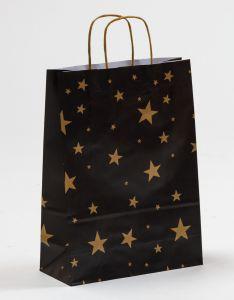 Papiertragetaschen mit gedrehter Papierkordel Sterne gold/schwarz 24 x 10 x 31 cm, 200 Stück