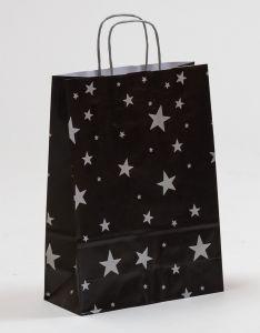 Papiertragetaschen mit gedrehter Papierkordel Sterne silber/schwarz 24 x 10 x 31 cm, 050 Stück