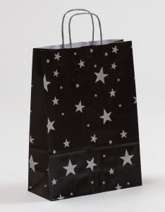 Papiertragetaschen mit gedrehter Papierkordel Sterne silber/schwarz 24 x 10 x 31 cm, 200 Stück
