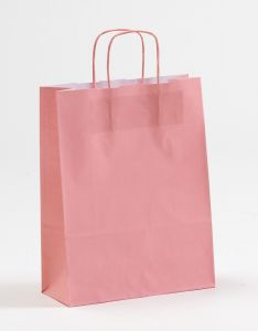 Papiertragetaschen mit gedrehter Papierkordel rosa rosé 24 x 10 x 31 cm, 100 Stück