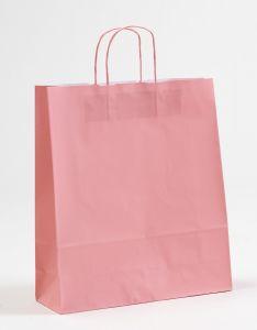 Papiertragetaschen mit gedrehter Papierkordel rosa rosé 36 x 12 x 41 cm, 100 Stück