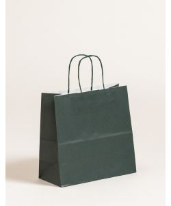Papiertragetaschen mit gedrehter Papierkordel dunkelgrün 25 x 11 x 24 cm, 250 Stück