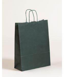Papiertragetaschen mit gedrehter Papierkordel dunkelgrün 32 x 13 x 42,5 cm, 250 Stück