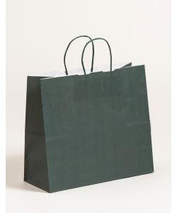 Papiertragetaschen mit gedrehter Papierkordel dunkelgrün 32 x 13 x 28 cm, 250 Stück