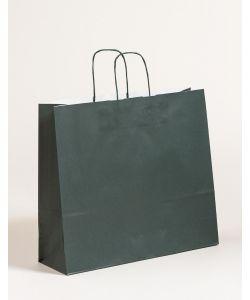 Papiertragetaschen mit gedrehter Papierkordel dunkelgrün 42 x 13 x 37 cm, 150 Stück