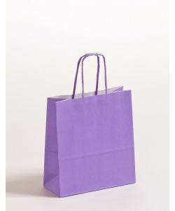Papiertragetaschen mit gedrehter Papierkordel violett 18 x 8 x 25 cm, 300 Stück