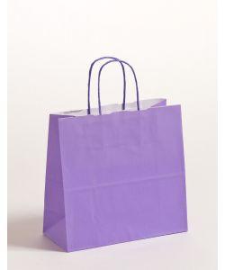 Papiertragetaschen mit gedrehter Papierkordel violett 25 x 11 x 24 cm, 250 Stück