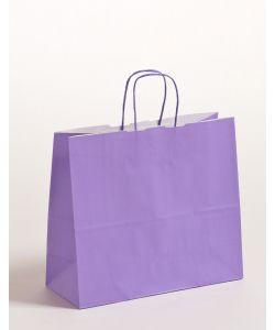 Papiertragetaschen mit gedrehter Papierkordel violett 32 x 13 x 28 cm, 250 Stück