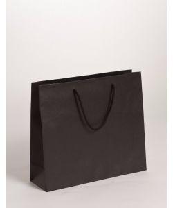 Papiertragetaschen mit Baumwollkordeln schwarz 32 x 10 x 27,5 + 5 cm, 200 Stück