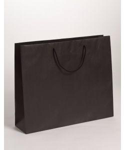Papiertragetaschen mit Baumwollkordeln schwarz 42 x 13 x 37 + 6 cm, 100 Stück