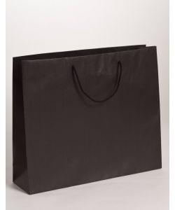 Papiertragetaschen mit Baumwollkordeln schwarz 54 x 14 x 44,5 + 6 cm, 75 Stück