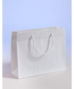 Papiertragetaschen mit Baumwollkordeln weiß 38 x 13 x 31 + 6 cm, 150 Stück