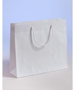 Papiertragetaschen mit Baumwollkordeln weiß 42 x 13 x 37 + 6 cm, 100 Stück
