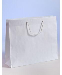 Papiertragetaschen mit Baumwollkordeln weiß 54 x 14 x 44,5 + 6 cm, 75 Stück