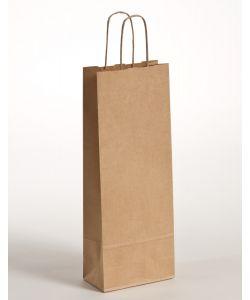 Flaschentaschen Papiertragetaschen mit gedrehter Papierkordel braun gerippt 15 x 8 x 39,5 cm, 300 Stück