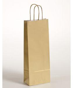 Flaschentaschen Papiertragetaschen mit gedrehter Papierkordel gold 15 x 8 x 39,5 cm, 300 Stück