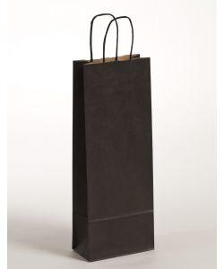 Flaschentaschen Papiertragetaschen mit gedrehter Papierkordel schwarz 15 x 8 x 39,5 cm, 300 Stück