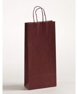Flaschentaschen Papiertragetaschen mit gedrehter Papierkordel bordeaux 18 x 8 x 39,5 cm, 300 Stück