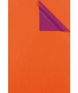 0,58 €/m Geschenkpapier 2-seitig orange/violett Rolle 50 cm x 100 lfm