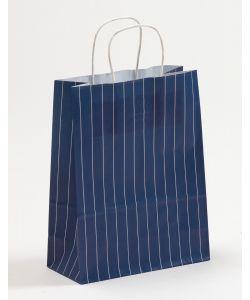 Papiertragetaschen mit gedrehter Papierkordel Nadelstreifen blau 22 x 10 x 28 cm, 100 Stück