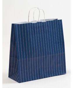 Papiertragetaschen mit gedrehter Papierkordel Nadelstreifen blau 35 x 14 x 35 cm, 050 Stück