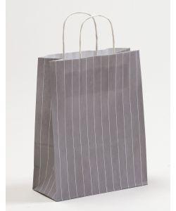 Papiertragetaschen mit gedrehter Papierkordel Nadelstreifen grau 22 x 10 x 28 cm, 050 Stück