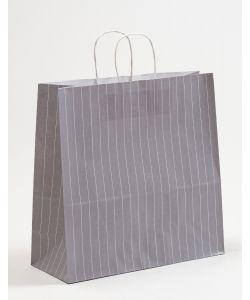 Papiertragetaschen mit gedrehter Papierkordel Nadelstreifen grau 35 x 14 x 35 cm, 250 Stück