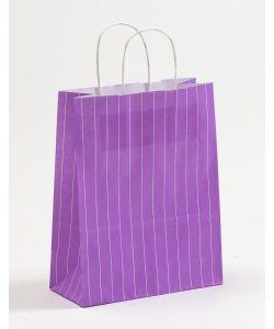 Papiertragetaschen mit gedrehter Papierkordel Nadelstreifen violett 22 x 10 x 28 cm, 025 Stück