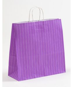 Papiertragetaschen mit gedrehter Papierkordel Nadelstreifen violett 35 x 14 x 35 cm, 100 Stück