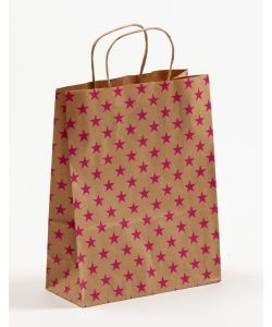 Papiertragetaschen mit gedrehter Papierkordel Sterne pink 22 x 10 x 28 cm, 025 Stück