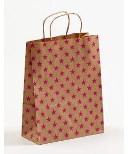 Papiertragetaschen mit gedrehter Papierkordel Sterne pink 22 x 10 x 28 cm, 050 Stück