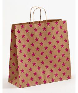 Papiertragetaschen mit gedrehter Papierkordel Sterne pink 35 x 14 x 35 cm, 050 Stück