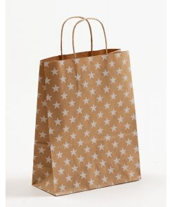 Papiertragetaschen mit gedrehter Papierkordel Sterne weiß 22 x 10 x 28 cm, 200 Stück