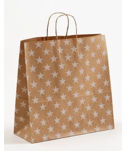 Papiertragetaschen mit gedrehter Papierkordel Sterne weiß 35 x 14 x 35 cm, 100 Stück