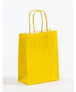 Papiertragetaschen mit gedrehter Papierkordel gelb 15 x 8 x 20 cm, 050 Stück