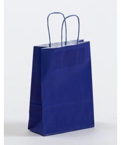 Papiertragetaschen mit gedrehter Papierkordel blau 18 x 8 x 25 cm, 100 Stück