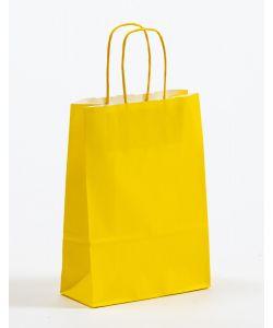 Papiertragetaschen mit gedrehter Papierkordel gelb 18 x 8 x 25 cm, 050 Stück