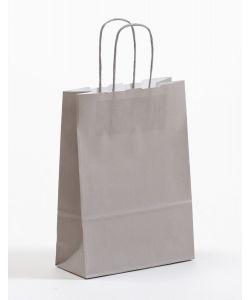 Papiertragetaschen mit gedrehter Papierkordel grau 18 x 8 x 25 cm, 100 Stück