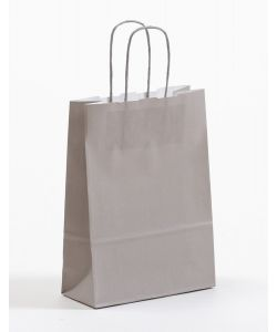 Papiertragetaschen mit gedrehter Papierkordel grau 18 x 8 x 25 cm, 050 Stück