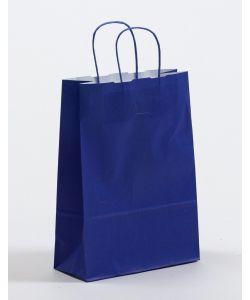 Papiertragetaschen mit gedrehter Papierkordel blau 15 x 8 x 20 cm, 025 Stück