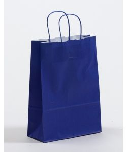 Papiertragetaschen mit gedrehter Papierkordel blau 15 x 8 x 20 cm, 050 Stück