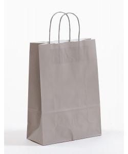 Papiertragetaschen mit gedrehter Papierkordel grau 23 x 10 x 32 cm, 200 Stück